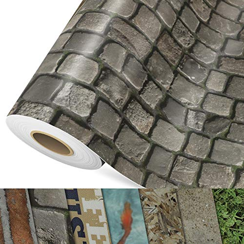 CV Bodenbelag Cobble - extra abriebfester PVC Bodenbelag (geschäumt) - Foto-Druck Kopfstein-Pflaster - Oberfläche strukturiert - Meterware (200x350 cm)