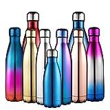 Anjoo Botella de Agua 500 ML, Deportes al Aire Libre Botella Agua Acero Inoxidable con Doble Pared Aislada al Vacío Botella, Aluminio Botella térmica para Bebidas frías y Calientes(Púrpura)