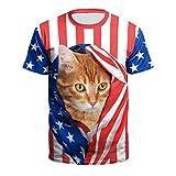 メンズ Tシャツ 半袖 3Dプリント 面白 猫柄 犬柄 おしゃれ 派手 カットソー Timsa T-shirt ティーシャツ 春服 夏服 創意デザイン アメリカの国旗 ストライプ ネコ柄 3DロンT 可愛い 上着 カジュアル 男女兼用 トップス 彼氏 父の日ギフト