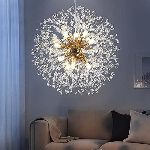 Candelabro Sputnik Dorado de 8 Luces, Moderno, de Cristal, Diente de león, luz de Techo, Fuegos Artificiales, lámpara Colgante para Sala de Estar, Comedor, Cocina, lámpara Colgante