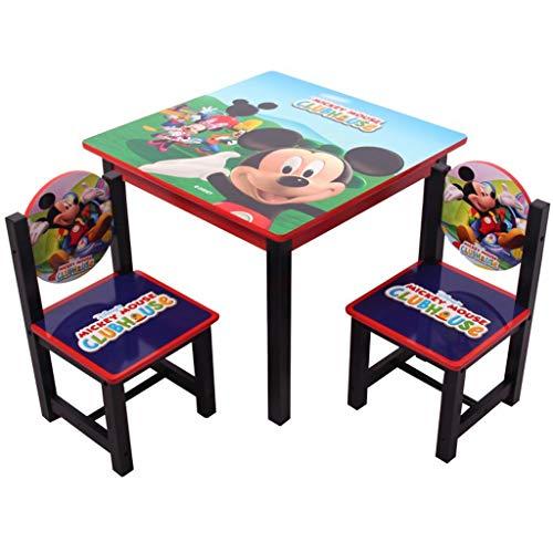 JUEJIDP Mickey Mouse und Donald Duck Kinder Tisch und Stuhl Set, aus Holz for Kinder Studium der Malerei Kleinkind Baby Esstisch Activity Table