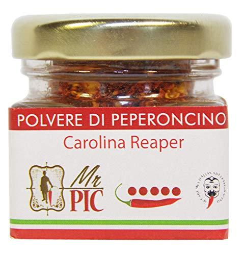 Polvere di peperoncino Carolina Reaper (15 g) - Il PIÙ PICCANTE DEL MONDO - Mr PIC®: il Peperoncino Toscano di alta qualità - Carmazzi: la più ampia linea di prodotti piccanti in Italia