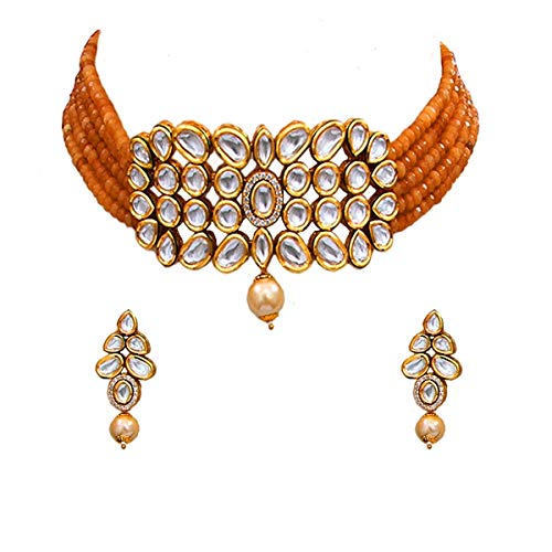 JewelryOnClick Trendy Choker Necklace Earrings Set Gold Plated Kundan, CZ, Pearl Designer Fashion Jewellery for Women and Girls
