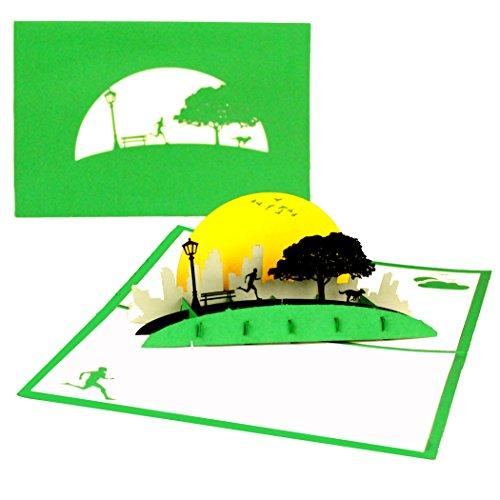 """Pop Up Karte\""""Jogging - Laufen im Park\"""" 3D Geburtstagskarte & Glückwunschkarte, Fitness, Jogger, Marathon & Outdoor Sport - zum Geburtstag, als Einladungskarte, Geschenkgutschein, Geschenkverpackung"""