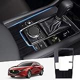Cartist マツダ 新型 Mazda3 セダン専用 BP系 AT専用 シフトパネルカバー コンソールスイッチパネルカバー H31.5-現行 専用設計 内装 カスタム ドレスアップ マツダ3パーツ 傷防止 ステンレス製 簡単取付 1pcsセット (新型 マツダ3, ブラックヘアライン)