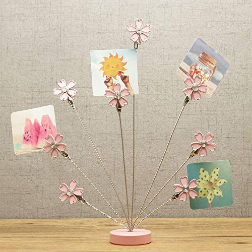8-Branch Family Tree Picture Frame Holder, Card Photo Clips Holder Desk Stand for Memo Paper Note Photo Christmas Wedding Card Display (Cherry Blossoms)