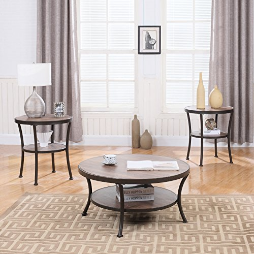 Divano Roma Furniture 3 Piece Modern Round Coffee Table and 2 End Tables Living Room Set (Brown)