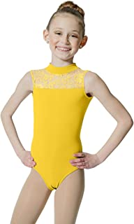 HDW DANCE Kids Girls Ballet Dance Leotard Lace Turtle Neck Open Back Cotton …