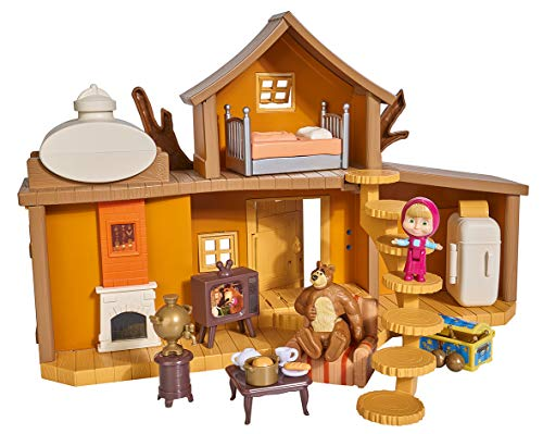 Simba 109301032 - Mascha und der Bär Spielset Großes Bärenhaus/ mit 2 Etagen/ zum Aufklappen/ mit Sound/ mit Mascha und Bär Figur/ Zahlreiche Spielmöglichkeiten/ 11x35x22cm