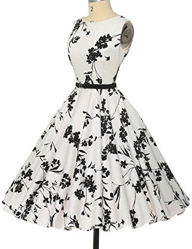 Schoene Blumenmuster festliches Kleid sommerkleid knielang rockabilly kleid L - 5