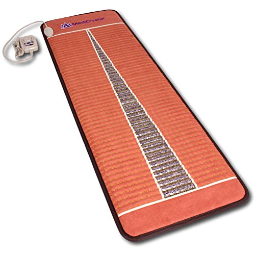 MediCrystal Far Infrared Amethyst Mat 71'L x 24'W - Natural Crushed Crystals - Adjustable 86°-158°F (30°-70°C) FIR Heating Pad - Deep Warming - Hot Stone Therapy - Negative Ions - FDA Reg Manufacturer