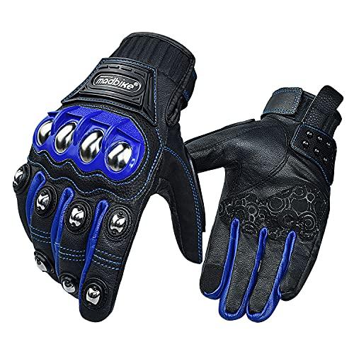 Guantes de Cuero para Motocicleta para Hombres y Mujeres, Guantes de conducción para Deportes de Motor con Pantalla táctil (Azul, L)