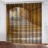 YTSDBB Cortinas Dormitorio Impresión de Escalera de túnel Ancho 140 x Altura 160 cm 90% Opacas Cortinas 3D Impresión Digital Ojales Cortinas Termica para Chico Chica Salon Dormitorio Oficina Hotel