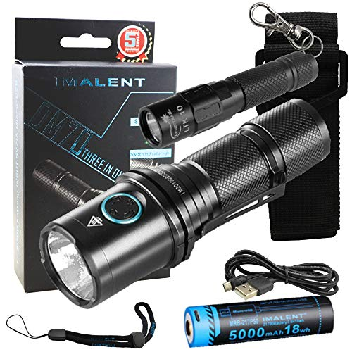 Imalent DM70 Flashlight LED Light with USB Rechargeable Battery Compact 4500 Lumens EDC Bundle with a Lumintrail LTK-10 Keychain Light (Black)