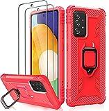 Milomdoi Schutzhülle für Samsung Galaxy A52 (4G und 5G), 360°-Fingerring-Halterung, Ständer, Rot