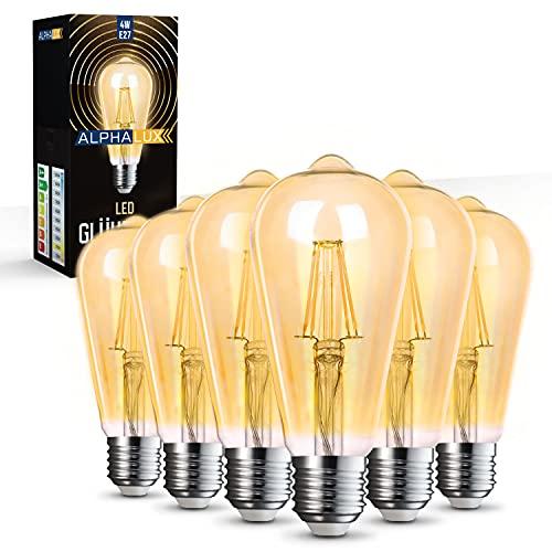 Alphalux   Edison Glühbirne E27 Vintage – 6er Pack – 4W LED Vintage E27 Glühbirne – LED Warmweiss [2700K] – Retro Glühbirne E27 - Energieklasse A+