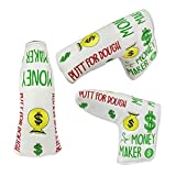 Foretra Putt for Dough - Money Maker White Golf Putter Headcover Quality PU Leather Magnetic Closure for Blade Style Putters