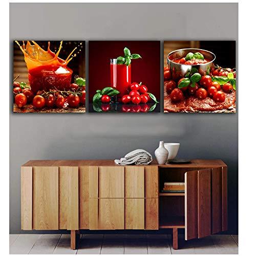 NIESHUIJING druk op canvas tomaten sap schilderijen voor de keuken fruit wanddecoratie moderne canvasschilderij-50x50cm No Frame