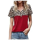 Sommer Oberteil Damen T Shirt Top Bluse Frauen Mädchen Kurzarm T-Shirt Casual V-Ausschnitt Tank Tops Tunika Blusen Tees Sweatshirt Pullover Hemd