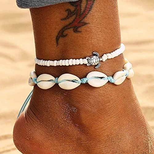 Branets Boho Bracelet de cheville à double coquillage avec pendentif tortue blanche Chaîne de pied de plage Bijoux Accessoires pour femmes et filles