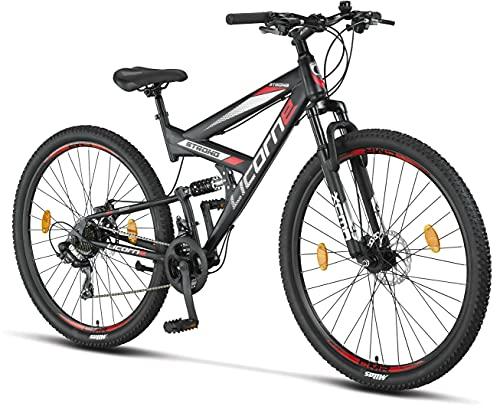 Licorne Bike Bicicleta de montaña Strong 2D, para niños, niñas, mujeres y hombres, freno de disco delantero y trasero, 21 velocidades, suspensión completa, negro/rojo, 29 pulgadas