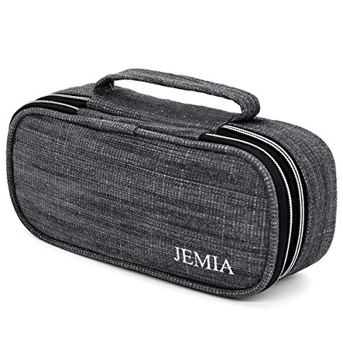 JEMIA Square Compartments Collection 2 Independent Zipper Chambers with Handle Strap, Mesh, Slot Pockets Pencil Case (Black Denim Jean Style, Canvas)