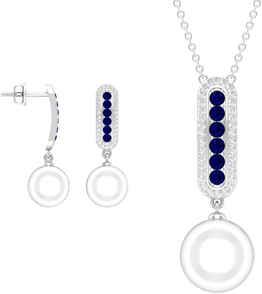 16.87 Carat Round Bombing free shipping Cut Blue Sapphire Halo Diamond N Necklace Bar OFFicial shop