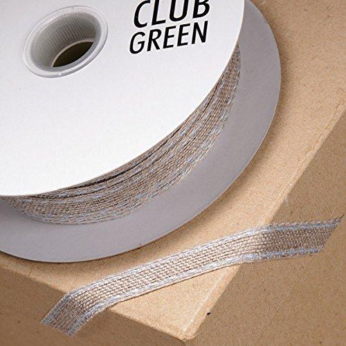 Club Green Ruban en Toile de Jute avec Bordure piquée, Bleu, 10 mm x 25 m