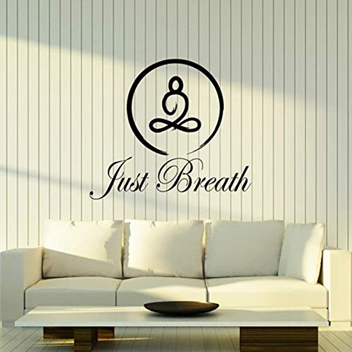 Atmen Sie einfach Wandtattoo Zitat Kreis Yoga Pose Lotus Meditationsraum Fitnessstudio Innendekoration Tür Fenster Vinyl Aufkleber Kunst Aufkleber42x48 cm
