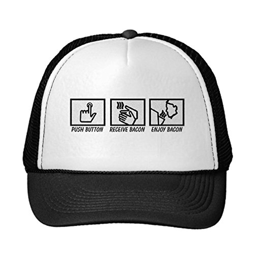 Push Button Bacon Trucker Hat Baseball Mesh Cap,One Size Black