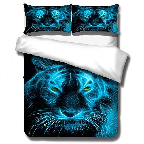 YTBDWOSQ 3Pcs Funda De Edredón 150X200 Cm Tigre Animal Azul Creativo 3D Impresión Ropa De Cama Poliéster con Cremallera Oculta, 1 Funda Nórdica Y 2 Funda De Almohada, Cómodo Suave Fácil De Limpiar