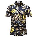 Playa Shirt Hombre Verano Ajuste Regular Moderno Hombre Cuello Alto Shirt Moda Estampado Deportiva Camisa Botón Placket Hawaii Camisa Vacaciones Casuales Hombre Correr Shirt F-006 M