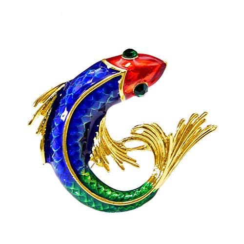 Coloridos broches de pescado esmalte para las mujeres de la suerte carpa pin verde ojo moda joyería traje accesorios
