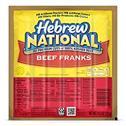 Hebrew National Beef Franks, 10.3 Ounce, 6 Hot Dogs Per Pack