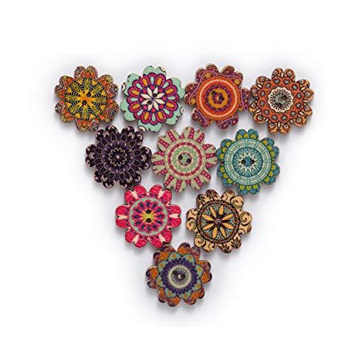 50 stuks retro-serie bloemenknopen van hout voor handwerk, knutselen, scrapbooking, kleding, handwerk, accessoires, kaarten, knutselen, 20 - 25 mm