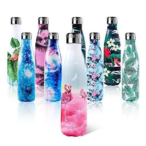 Shinemefly Botella de Agua Acero Inoxidable 500ml, Aislamiento de Vacío de Doble Pared, Botellas de Frío Caliente, para Niños, Deporte, Oficina, Gimnasio, Ciclismo