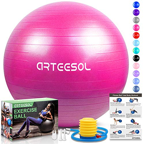 arteesol Gymnastikball, Balance Ball 45cm/55cm/65cm/75cm Yoga Ball mit Pumpe Anti-Burst Fitness Balance Ball für Core Strength (Rosa, 65cm)