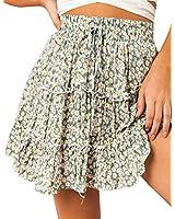 Relipop Women's Flared Short Skirt Polka Dot Pleated Mini Skater Skirt with Drawstring (T1, X-Large)