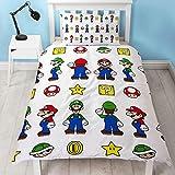 Funda de edredón Oficial de Super Mario para Cama Individual, Reversible, diseño de Mario y Luigi, Color Blanco
