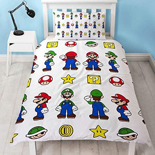 """Wendbarer """"Super Mario""""-Bettbezug für Einzelbett mit Motiv """"Mario und Luigi"""", mit passendem Kissenbezug, zweiseitig bedruckt, Weiß"""