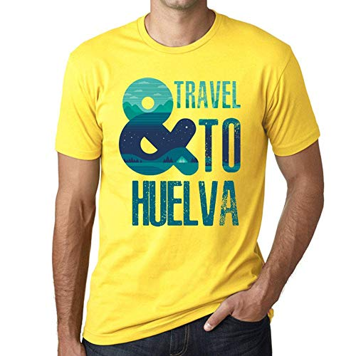 One in the City Hombre Camiseta Vintage T-Shirt Gráfico and Travel To HUELVA Amarillo