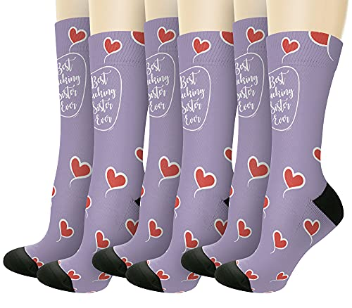 Sisters Day Gift For Sister Best F-cking Sister Ever Gifts 6-Pairs Novelty Crew Socks