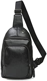 Lcxliga Sling Bag, Leather Chest Bag Crossbody Shoulder Business Backpack Outdoor