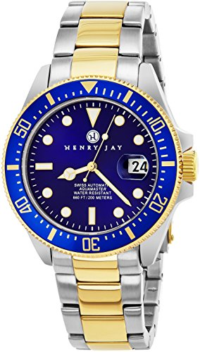 """Henry Jay """"Limited Edition"""" Swiss Self Winding Mechanical Automatic 23K Gold Plated Two Tone Stainless Steel """"Specialty Aquamaster"""""""