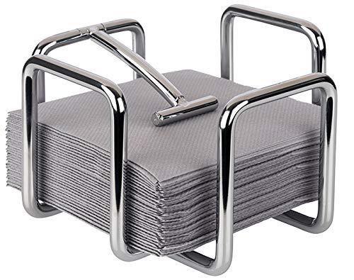 Buddy´s Bar - Servilletero dispensador de servilletas para 65 servilletas de cóctel de metal cromado, dispensador de servilletas para servilletas de cóctel de 14 x 14 cm, 10 cm de altura.