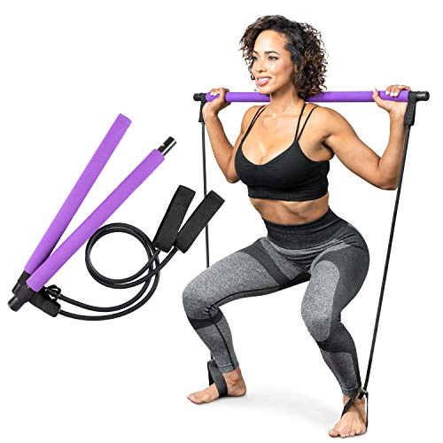 Serenily Pilates Bar Yoga Stick - Pilates bar kit for Home Gym with Pilates Resistance Bands - At Home Workout Equipment for Women Kit - Pilates Stick Fitness Bar for Pilates Exercise and Body Workout