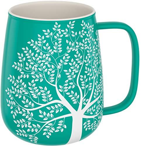 amapodo Kaffeetasse groß aus Porzellan mit Henkel 600ml Jumbotassen Kaffee Tasse Türkis Geschenke für Frauen Männer
