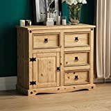 Vida Designs Corona Sideboard, 1 Door 4 Drawer, Solid Pine Wood