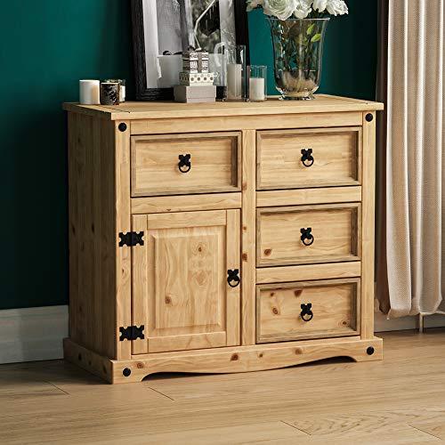 Amazon Brand - Movian Corona Sideboard, 1 Door 4 Drawer, Solid Pine Wood, 76 x 86 x 40 cm