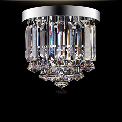 YANQING Durable Ceiling Lights European Crystal Ceiling Light, Round Decorative Chandelier, Corridor Aisle Ceiling Lamp - Warm White Light Ceiling Lights (Color : Silver)
